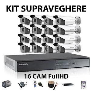 Kit supraveghere 16 camere FullHD cu IR-40m