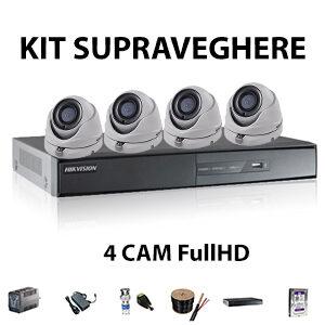 Kit supraveghere 4 camere Dome interior FullHD
