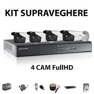 Kit supraveghere 4 camere Full HD 3 MPX IR- 80 m