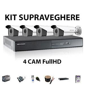 Kit supraveghere 4 camere FullHD cu IR-40m